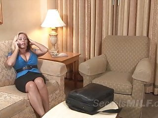 Milfs with huge naturals Mature blonde mom with huge tits seduced a son friend