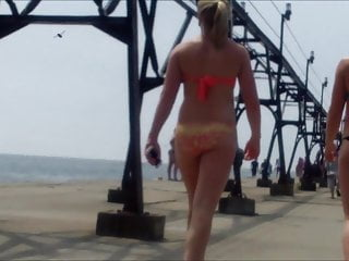 Red floral bikini - Candid beach bikini ass butt west michigan booty red 10