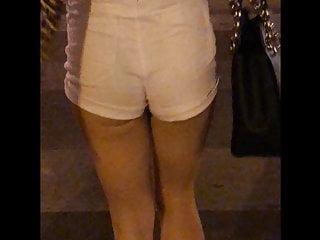 Crescent breast lift pics Crescent lit booty cheeks white shorts