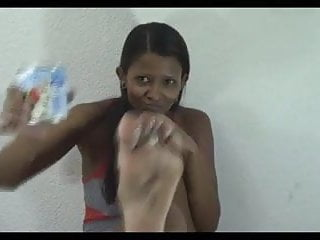 Lick her toes - Girl licking milk off her own feet - toe suck