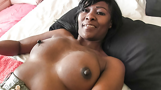 Busty Real Amateur Ebony in First Interracial Casting
