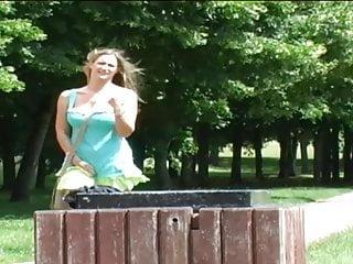 Garbage dump nude Super hot blonde pissing in garbage