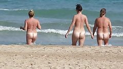 Three Spanish Women Walking into the Sea