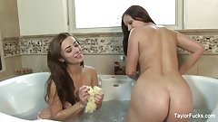 Bath time with busty brunettes Taylor Vixen & Aria Giovanni