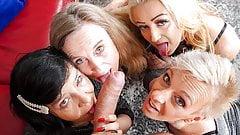 4 grandmas and 1 young cock