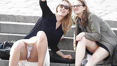 Blonde Sitting Upskirt taking Selfie