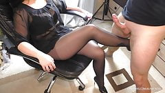 Teen School Teacher helps with lessons Handjob in pantyhose