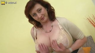 Huge breasted mother Jana loves to play with her furry pussy
