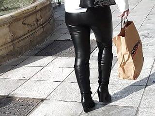 Greek milf in leather leggings 3