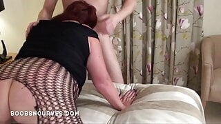 British Busty BBW takes it in the ass