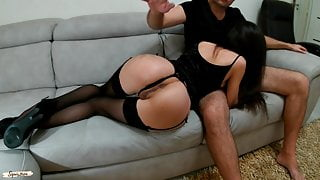 Slim escort girl in stockings and heels will do everything