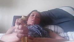 Slutty wife fucks herself with her dildo, then cleans it