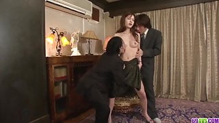 Mei Haruka loves office porn with two horny men