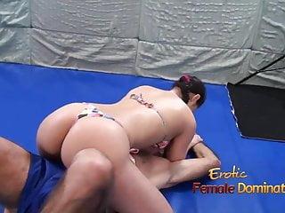 Femdom wrestling video thumbs - Lana wrestles in bikini with elderly man