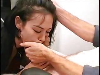 White boy asian girl Asian girl deepthroats white boy in an office