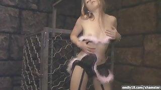 Fuzzy lingerie on hot teen