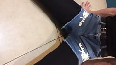 Emma pissing in her shorts , and play with her pee