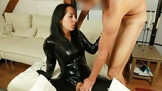 Sexy in Shiny Black Catsuit