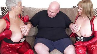 Busty latex grannies Speedybee and Savana fuck fat frank pt1