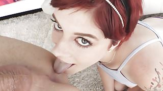 Submissive redhead enjoys anal sex