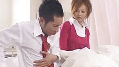 Japanese girl's shirtcollar gets messed up