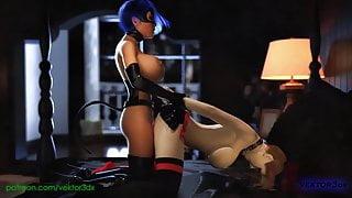 Futa Catwoman and Harley Quinn