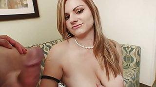 Curvy blonde masturbates before jerking off dude's stiff tool