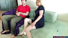 Stepmom lets her stepson fuck both her holes