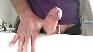 Wanking with toy and cum
