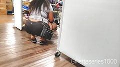 Candid ebony ghetto nut booty in black spandex shorts