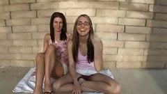 Two girls outside