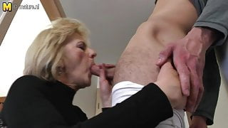 Horny mature stepmom and wife fucking her toy boy