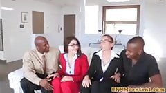 CFNM SECRET - Interracial CFNM babe analized in foursome -