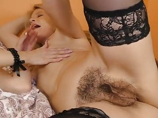 Mature and young hairy lesbians passionate threesome