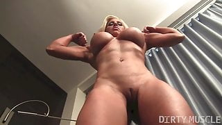 Big Tit Muscle Blonde Shows Off Her Pussy and Ass