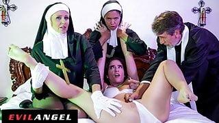 Priest & Nuns Fuck The Demon Out Of Possessed Slut