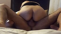 Cowgirl wife rides cock, shows milf asshole, big ass