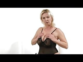 Blonde black lingerie - Busty blonde milf in black lingerie fingers and toys