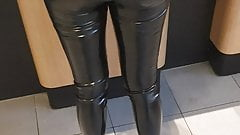 Teen slut showing her tiny tight ass latex leggings