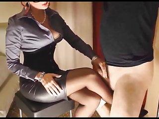 Sissy cumshot Tied sissy rubbing cock on mistresss nylons.