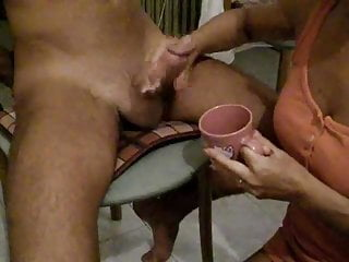 Drinking cups of cum tube Girl drink cum from cup