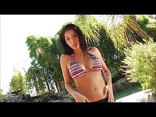 Brunette big tits pov Amateur brunette big-tit babe stripping