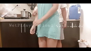 Pinay Maid, Side Fuck And Blowjob While Doing Dishes