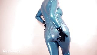 Blue Futuristic Texturized Latex Rubber Catsuit Arya Grander