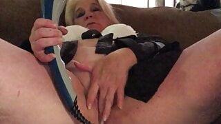 Masturbating with big blue dildo
