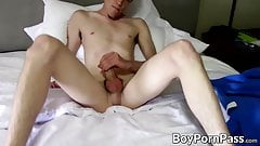Hung and lanky Brandon strokes twink dick before cumming