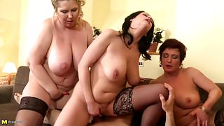 Lucky boy shared between 3 busty step mothers