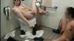 Amateur Asian Couple in Public Restroom