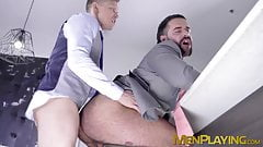 Muscle hunk Teddy Torres ass rimmed before bareback pounding
