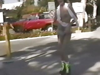 Rollerblades sex Hot girl strips while rollerblading